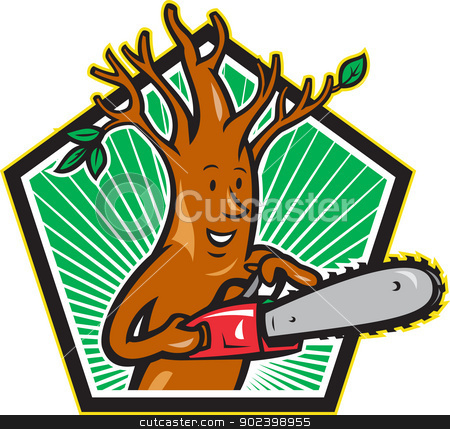 Tree Man Arborist With Chainsaw stock vector clipart, Illustration of tree man arborist tree surgeon lumberjack holding chainsaw done in cartoon style. by patrimonio