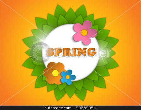 Beautiful Spring Flowers Orange Background  stock vector clipart, Vector - Beautiful Spring Flowers Orange Background  by Augusto Cabral Graphiste Rennes