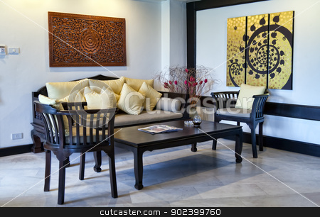 coffee table in a hotel room stock photo, coffee table in a hotel room with newspapers by Ruslan Kudrin