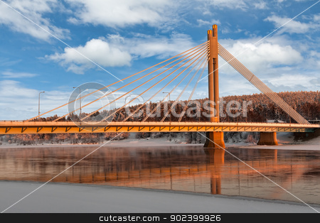 The bridge over the river stock photo, The bridge over the river against the backdrop of winter snow-covered forest by Ruslan Kudrin