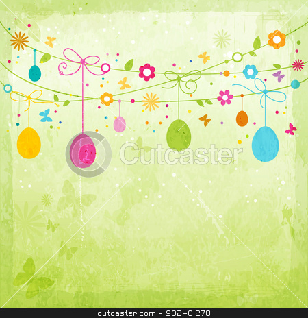Colorful Happy Easter design stock vector clipart, Hanging Easter eggs, flowers, butterflies and colorful dots on green textured background forming a happy, colorful border with space for your text. Great for the coming Easter celebration. by Ina Wendrock