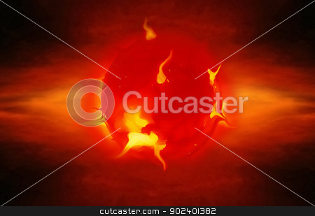 solar eruption stock photo, solar eruptions and explosions in space by Cochonneau