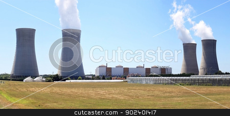 nuclear stock photo, photo of a nuclear plant in operation and production of hot water for agriculture by Cochonneau