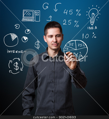 Business concept stock photo, Business man writing business process strategy cycle by Grafvision
