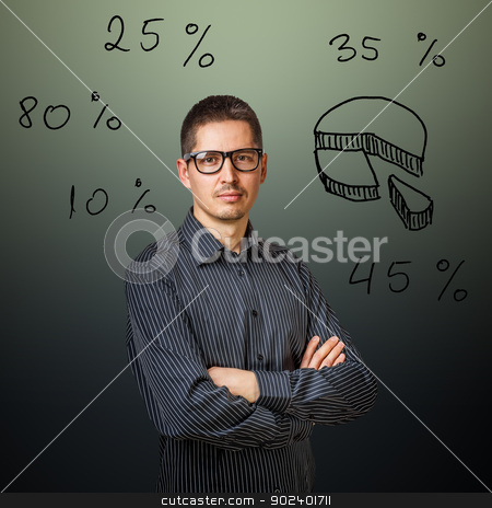 Businessman stock photo, Businessman with chart of market share  by Grafvision