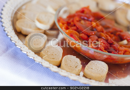 Sourdough Slices and Peppers on Tray stock photo, Sourdough Slices and Peppers on Serving Tray. by Andy Dean