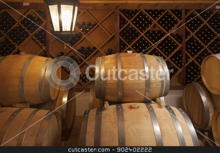 Wine Barrels and Bottles in Cellar stock photo, Wine Barrels and Bottles in Dimly Lit Cellar. by Andy Dean