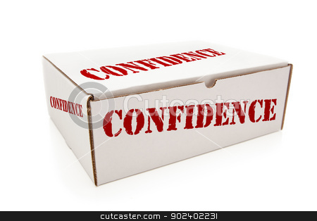 White Box with Confidence on Sides Isolated stock photo, White Box with the Word Confidence on the Sides Isolated on a White Background. by Andy Dean