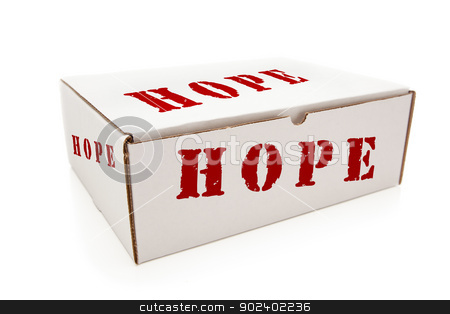 White Box with Hope on Sides Isolated stock photo, White Box with the Word Hope on the Sides Isolated on a White Background. by Andy Dean