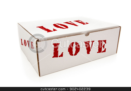 White Box with Love on Sides Isolated stock photo, White Box with the Word Love on the Sides Isolated on a White Background. by Andy Dean