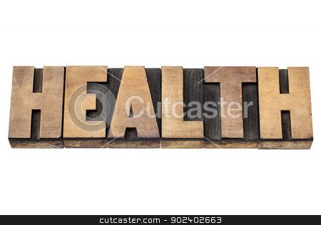 health word in wood type stock photo, health word - isolated text in vintage letterpress wood type printing blocks by Marek Uliasz