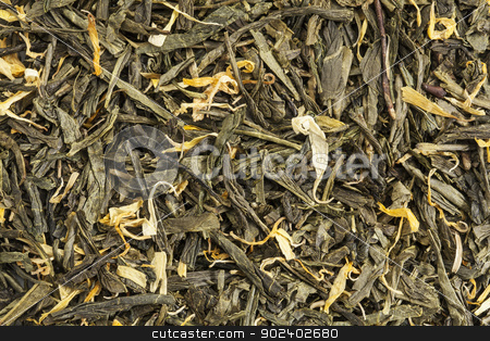 loose leaf green tea stock photo, background texture of loose leaf green tea with calendula and marigold petals by Marek Uliasz