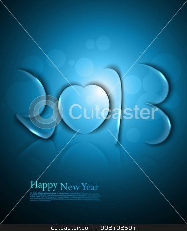 Happy new year 2013 colorful artistic blue  vector stock vector clipart, Happy new year 2013 colorful artistic blue  vector by bharat pandey