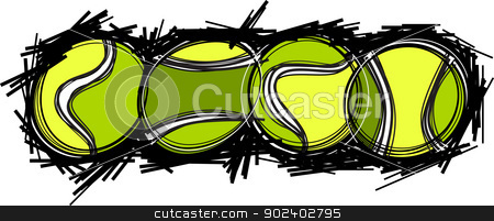 Tennis Balls Vector Image Template stock vector clipart, Tennis Ball Template Vector Illustration by chromaco