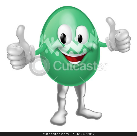 Easter Egg Cartoon Man stock vector clipart, An illustration of a happy fun cartoon Easter egg mascot character doing a thumbs up  by Christos Georghiou