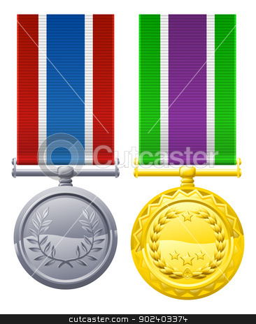 Military style decorations stock vector clipart, Decorations or medal design elements illustrations, one gold with white, purple and green ribbon, one silver with blue white and red ribbon  by Christos Georghiou