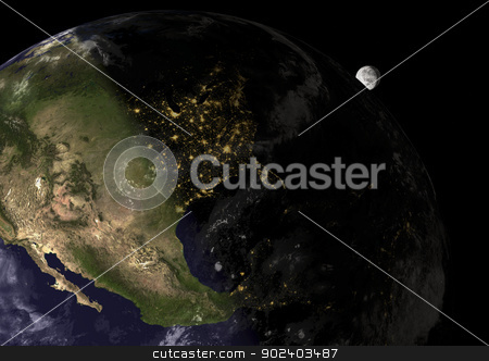 Sunset in United States, elements of this image furnished by NASA stock photo, Sunset in United States,  3d illustration with satellite photos, elements of this image furnished by NASA by paulrommer