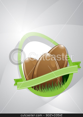 Three Easter eggs stock vector clipart, Composition of three chocolate easter eggs on a gray background with copy space. It also has a green ribbon with copy space. This colored in browns, grays and greens. by porteador