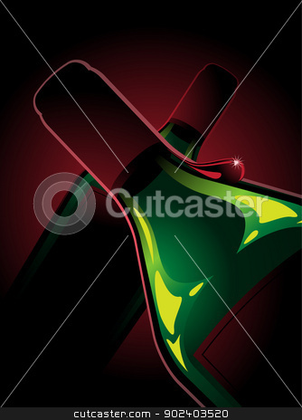 two bottles of red wine stock vector clipart, Composition with two bottles of red wine. A bottle of wine having a drop. Red and green colors. by porteador