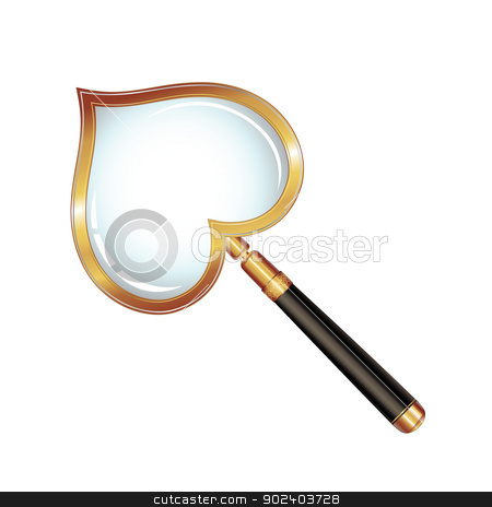 Magnifying glass stock vector clipart, Magnifying glass with shape heart isolated on white background by Merlinul