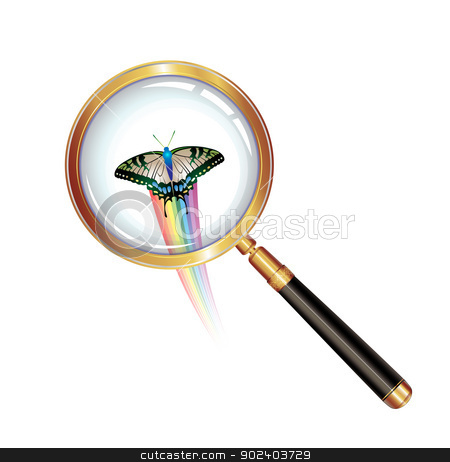 Magnifying glass stock vector clipart, Magnifying glass and butterfly isolated on white background by Merlinul