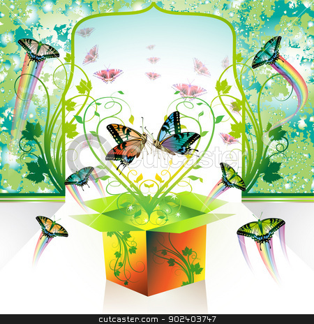 Springtime box stock vector clipart, Springtime box, love with butterflies by Merlinul