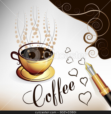 Cup of coffee stock vector clipart, Cup of coffee with hearts by Merlinul