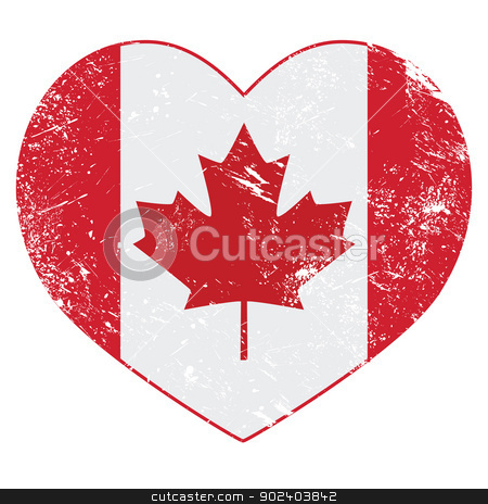 Canada heart retro flag stock vector clipart, Canadian vintage old heart shaped flag - grunge style by Agnieszka Bernacka