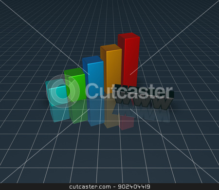 online business stock photo, business graph and the letters www - 3d illustration by J?