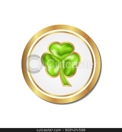Shamrock sticker isolated for Saint Patrick day stock vector clipart, Illustration shamrock sticker isolated for Saint Patrick day - vector  by -=Mad Dog=-