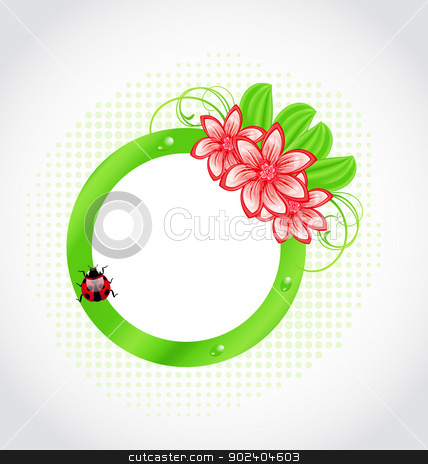 Cute spring label with flower, leaves, lady-beetle stock vector clipart, Illustration cute spring label with flower, leaves, lady-beetle - vector by -=Mad Dog=-