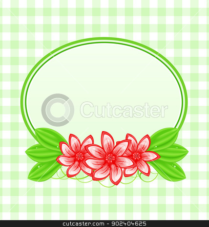 Summer card with flowers and leaves stock vector clipart, Illustration summer card with flowers and leaves - vector by -=Mad Dog=-