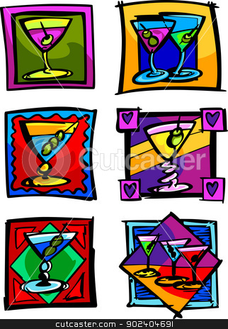 Martini Glasses Vector Image Icons stock vector clipart, Vector Group of Martini Glass Illustrations by chromaco