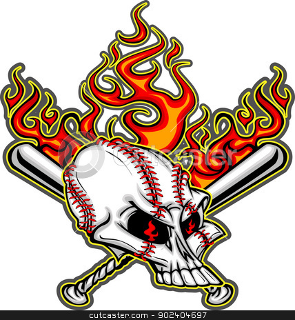 Softball Baseball Skull and Bats Flaming Cartoon Image stock vector clipart, Cartoon Image of Flaming Baseball Bats and Skull with Baseball Laces by chromaco