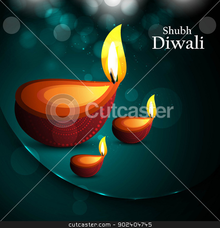 Happy diwali beautiful card diya vector design stock vector clipart, Happy diwali beautiful card diya vector design by bharat pandey