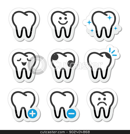 Tooth , teeth vector icons set  stock vector clipart, Stomatology, dentist concept - tooth black and blue labels isolated on white by Agnieszka Bernacka