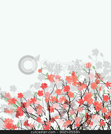 Cherry flower card stock vector clipart, Cherry flower background with room for text by Richard Laschon