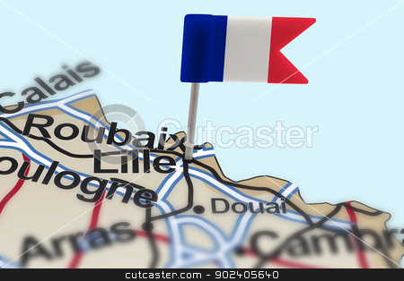 pin with flag of France in Lille stock photo, pin with flag of France in Lille with selective focus by paulrommer