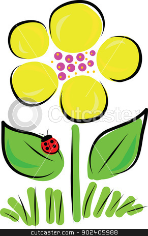 Daisy Bug stock vector clipart, A stylized daisy in full bloom, rises above a few blades of grass. A red ladybug sits on one of the flower's leaves. by Maria Bell