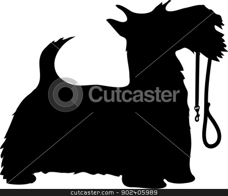 Scotty Dog and Leash stock vector clipart, A black silhouette profile of a Scottie dog with it's leash held in it's mouth, tail up and eager to go for a walk. by Maria Bell