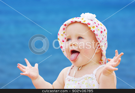 happy baby girl stock photo, Portrait of happy baby girl by Vitaliy Pakhnyushchyy