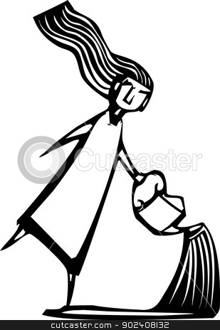 Watering Can stock vector clipart, Woodcut style image of a girl sprinkling water from a watering can. by Jeffrey Thompson
