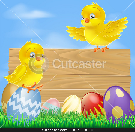 Easter chicks and wooden sign stock vector clipart, An illustration of cute little yellow cartoon Easter chicks and wooden sign by Christos Georghiou