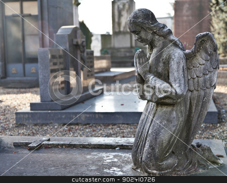 Cemetery Statue stock photo, Italian monumental cemetery: collection of two hundreds years old statues by Paolo Gallo
