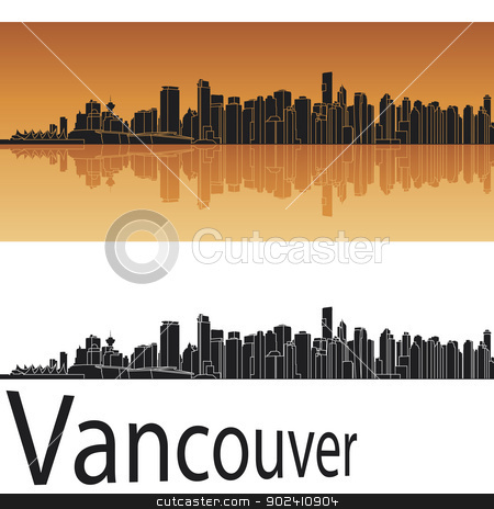 Vancouver skyline stock vector clipart, Vancouver skyline in orange background in editable vector file by paulrommer