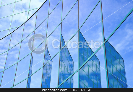five reflections of facade stock photo, five reflections of facade with blue sky and clouds by anton havelaar