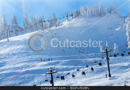 Sking Chairlifts at Snoqualme Pass Washington stock photo, Sking Chairlifts and Ski Class on Snow Mountain at Snoqualme Pass Washington. by William Perry