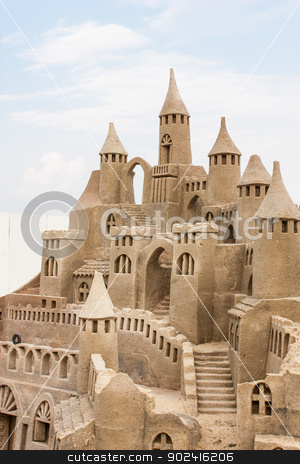 Sandcastle  stock photo, Grand sandcastle on the beach during a summer day by Perseomedusa