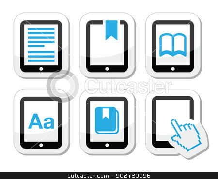 E-book reader, e-reader vector icons set  stock vector clipart, Electrionic book black and blue labels set isolated on white by Agnieszka Bernacka