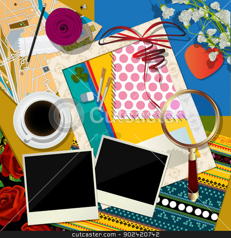 Scrapbook background stock vector clipart, Abstract art illustration, scrapbook background by Richard Laschon